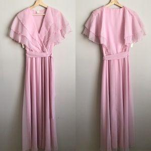 Vintage Pink Chiffon Draped Ruffle Maxi Dress